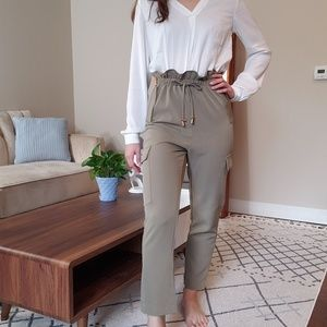 Navy green high-wasted trousers